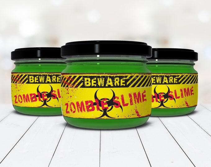 Zombie Slime Jar Label Wrappers - Halloween Party, Slime Party, Zombie Party, Pre-Typed Labels | INSTANT Download PDF Printable Set