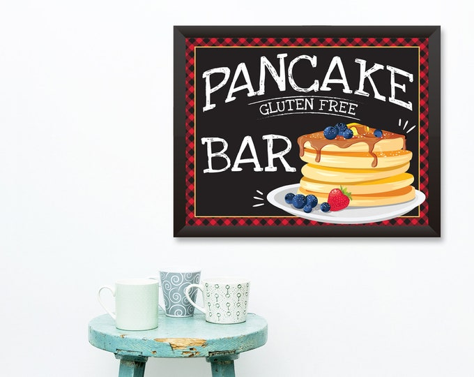 Pancake Gluten Free Bar Sign - 16x20 Sign / Poster, Pancake & Pajama's Party, Flapjack Party Sign | INSTANT Download DIY Printable PDF