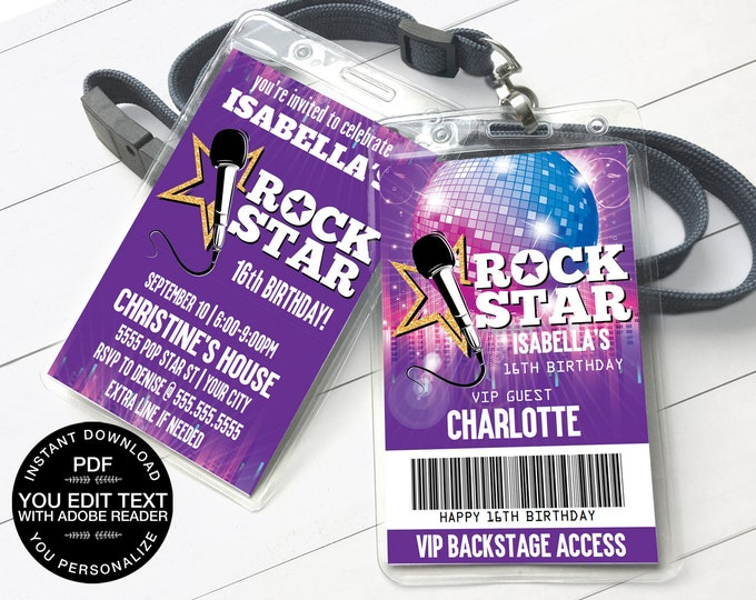 Rock Star Party VIP Badge Invitation, Party like a Pop Star, Rock n Roll | Self-Editing Text D.I.Y. Editable Text INSTANT DOWNLOAD Printable