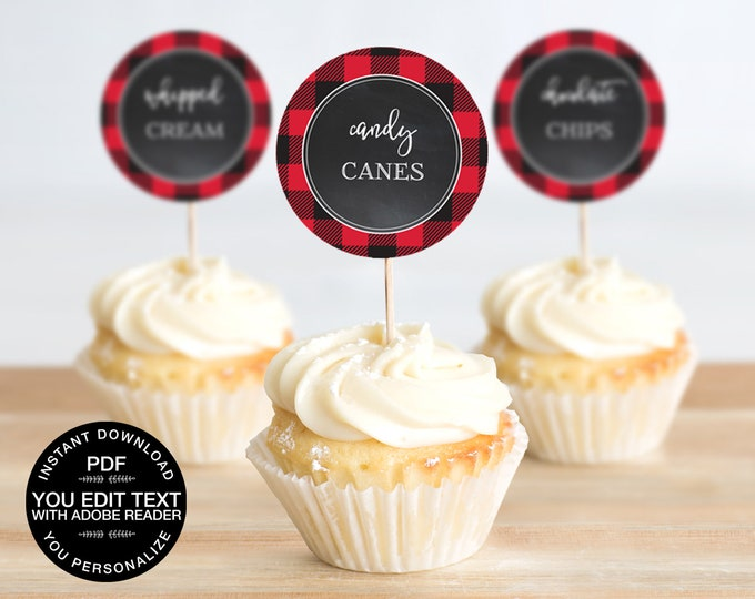 Cupcake Toppers - Flannel & Frost, 2-inch Cupcake Toppers, Buffalo Plaid   DIY Editable Text INSTANT DOWNLOAD Printable