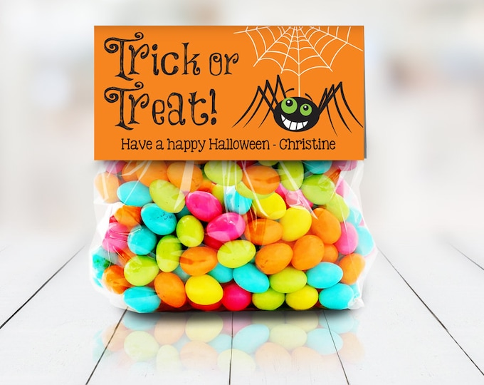 """Spider - Trick or Treat Baggie Toppers - Halloween Party,Halloween Favor, 4"""" Treat Bag Topper 