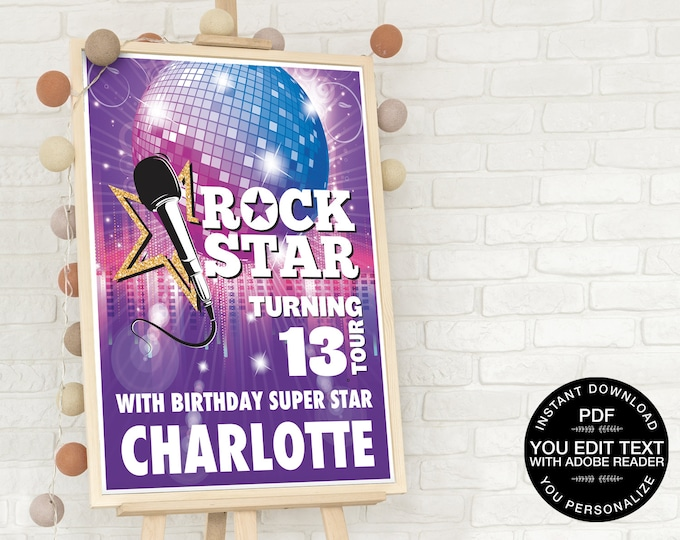 Rockstar Party 18x24 Sign/Poster Printable - Rock 'n Roll, BirthdayParty Sign, Music | Self-Editing Text INSTANT Download DIY Printable PDF