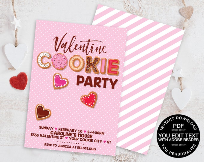 Valentine Cookie Party Invitation - Cookie Making Party, Valentine's Day Party Invite | D.I.Y. Self-Editing Text INSTANT DOWNLOAD Printable