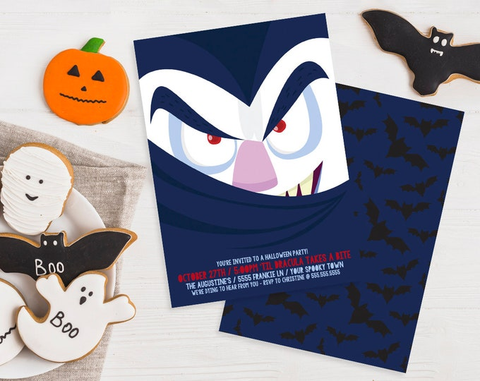 Dracula Party Invitation - Monster Mash, Halloween Party, Costume Party   Editable Text - DIY Instant Download PDF Printable