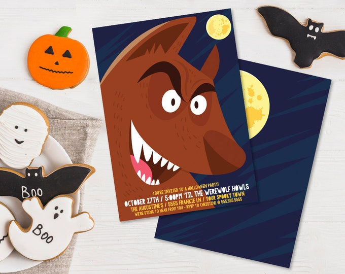 Werewolf Party Invitation - Monster Mash, Halloween Party, Costume Party | Editable Text - DIY Instant Download PDF Printable