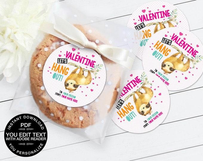"Sloth Valentine 3"" Circle Label, Valentine Party Label, Valentine Sloth Sticker,Valentine Card   Editable DIY Instant Download PDF Printable"