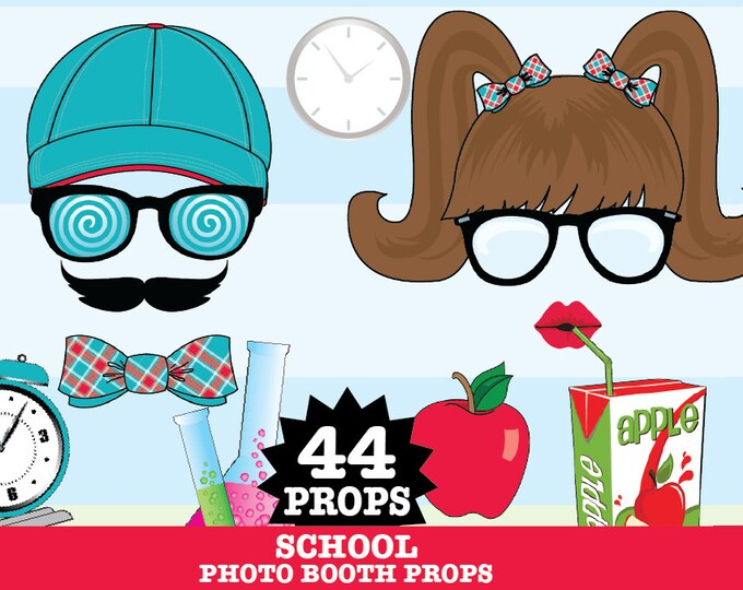 School Photo Booth Props, Back to School, Teacher Gift, College Party - INSTANT Download PDF - 44 DIY Printable Props