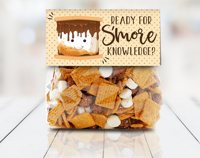 """Ready for S'more Knowledge Bag Topper - S'more 4"""" Treat Topper, S'more Treats, 4"""" Baggie