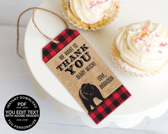 Lumberjack Favor Tag - Lumberjack Party Favor Tag, Bear Favor Tag, Buffalo Plaid Tag | Editable–Text INSTANT Download Printable PDF
