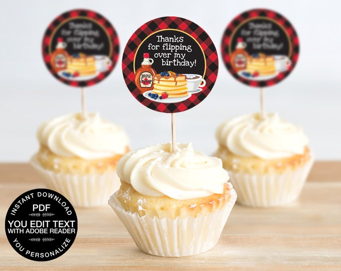 "Pancakes & Pajamas 2"" Cupcake Topper, Flannel and Flapjacks, Pancakes and Plaid, Cupcake Label 