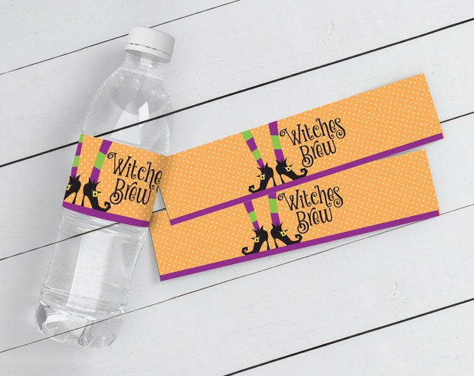 Witch Party Water Bottle Wrappers - Halloween Party, Witches Brew, Water Bottle Labels, Pre-Typed Text | Instant Download DIY Printable PDFs