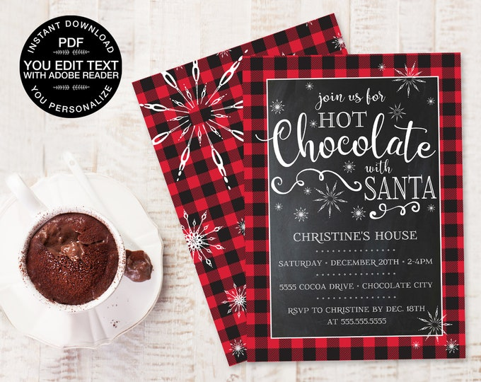 Hot Chocolate With Santa Invitation - Hot Chocolate, Buffalo Plaid, Hot Cocoa Bar   Edit Text Yourself D.I.Y. INSTANT Download PDF Printable