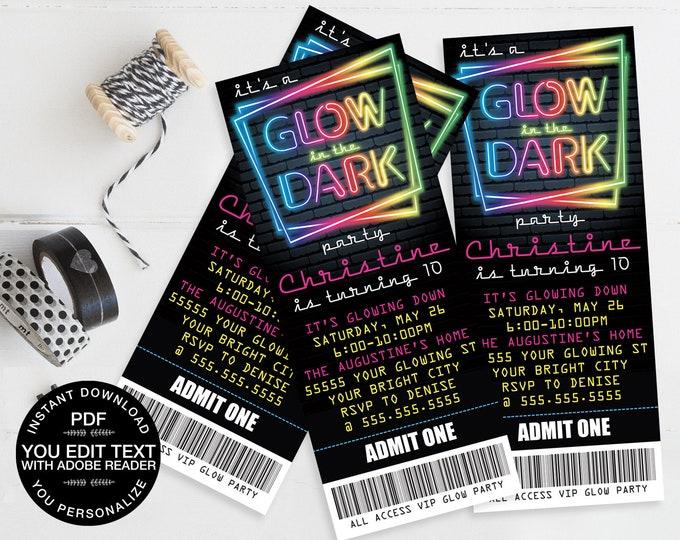 Neon Glow Party Ticket Invitation - Neon Glow Birthday, Glow Party Theme, pink | Self-Edit Text - Instant Download DIY Printable PDF