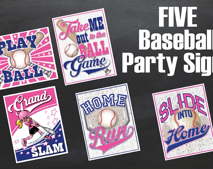 Pink Baseball or Softball Signs - Baseball Party, Softball Party, Baseball Decor, Birthday Party - Instant Download PDF 5 Printable Props