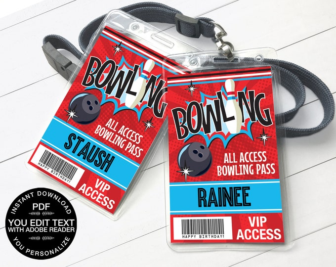 Bowling Party ID Badges - Bowling Bash, Bowling Birthday, All Access Badge, Red Blue | Self-Editing Text INSTANT Download Printable PDF