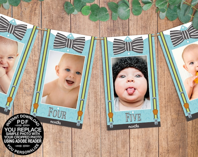 Little Man First Year Photo Banner - 13 Month Photo Banner | Click & Replace Photo | INSTANT Download DIY Printable PDFs - SEM103_5