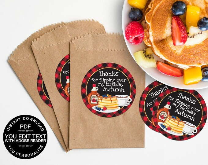 "Pancakes & Pajamas 3"" Circle Label, Flannel and Flapjacks 3"" Circle Label, Pancakes and Plaid 
