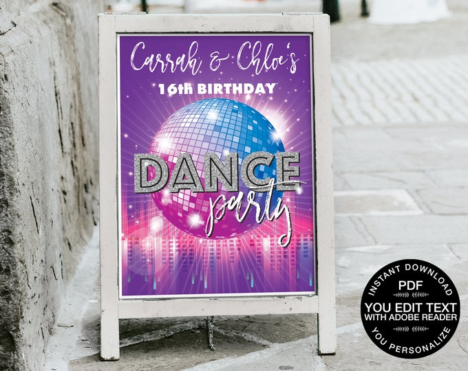 Dance Party 18x24 Sign/Poster Printable - Party Sign, Dance Birthday,Disco Party Sign | Self-Editing Text INSTANT Download DIY Printable PDF