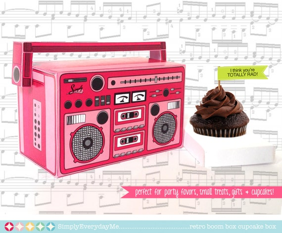 Boom Box - PINK, cupcake box, party favor box, 40th Birthday, 30th Birthday | Instant Download DIY Printable PDF Kit