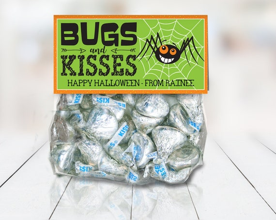 """Bugs & Kisses Treat Bag Topper - Halloween Party,Halloween Favor,4"""" Petite Sized Treat Topper 