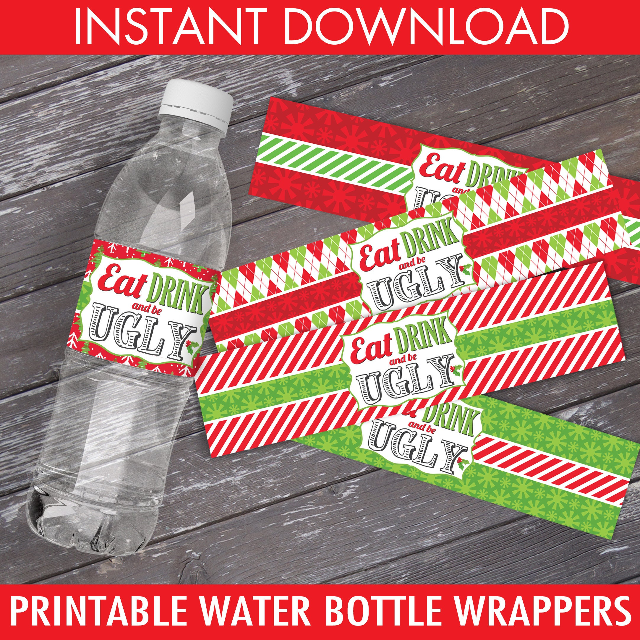 Ugly Sweater Water Bottle Label/Wrap - Ugly Sweater Party, Christmas ...
