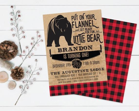 "Little Bear Birthday Invitation, Forest Friends, Woodland, Lumberjack Bear 5""x7""   Self-Edit Text Instant Download Printable Template"
