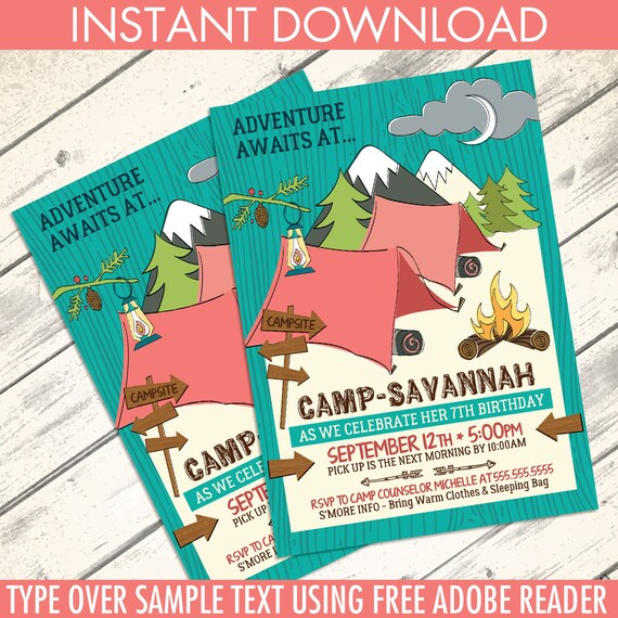 photo about Free Printable Camping Birthday Party Invitations named Glamping Occasion Invitation - Tenting Birthday Celebration, Woodland