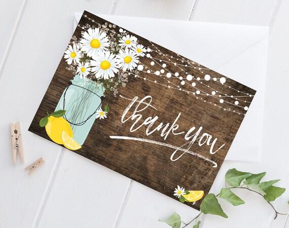 Daisy & Lemon Thank You Card - Rustic Daisy, Mason Jar Thank You Card, Lemonade Thank You | DIY Pre-Typed Card INSTANT DOWNLOAD Printable
