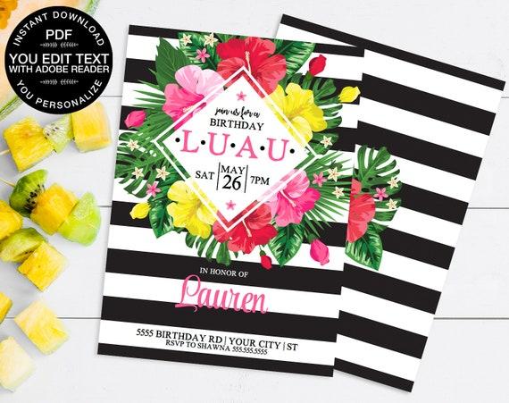 Luau Invitations - Hawaiian Party, Luau Birthday, Tropical Party, Birthday Luau   Self-Edit Instant Download Printable Template