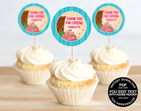 "Luau 2"" Cupcake Toppers - Hawaiian Birthday, Tropical Topper 