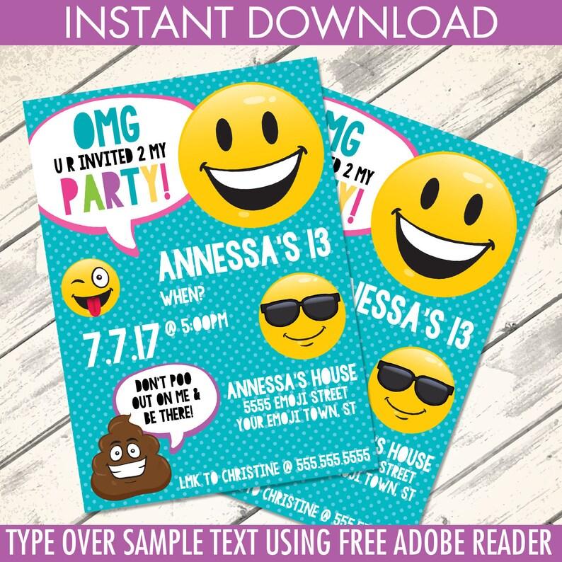 Emoji Invitations Birthday Party Theme