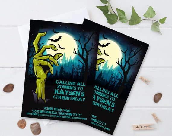 Zombie Birthday Invitation - Monster Mash, Halloween Birthday Party, Costume Party | Editable Text - DIY Instant Download PDF Printable