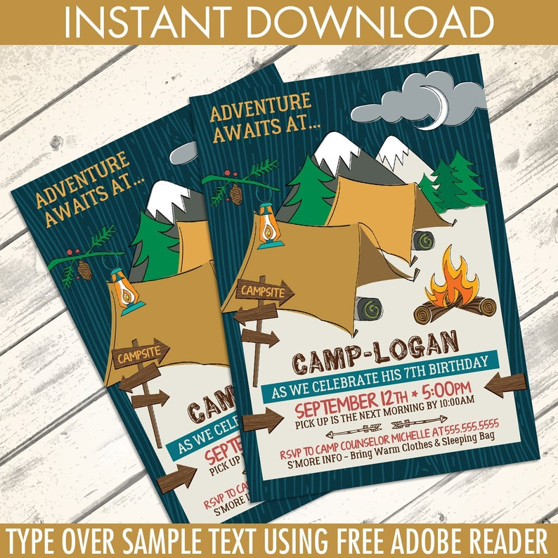 picture about Free Printable Camping Birthday Party Invitations named Tenting Get together Invitation - Tenting Birthday Occasion, Woodland, Glamping, Fishing Do-it-yourself Immediate Obtain PDF Printable