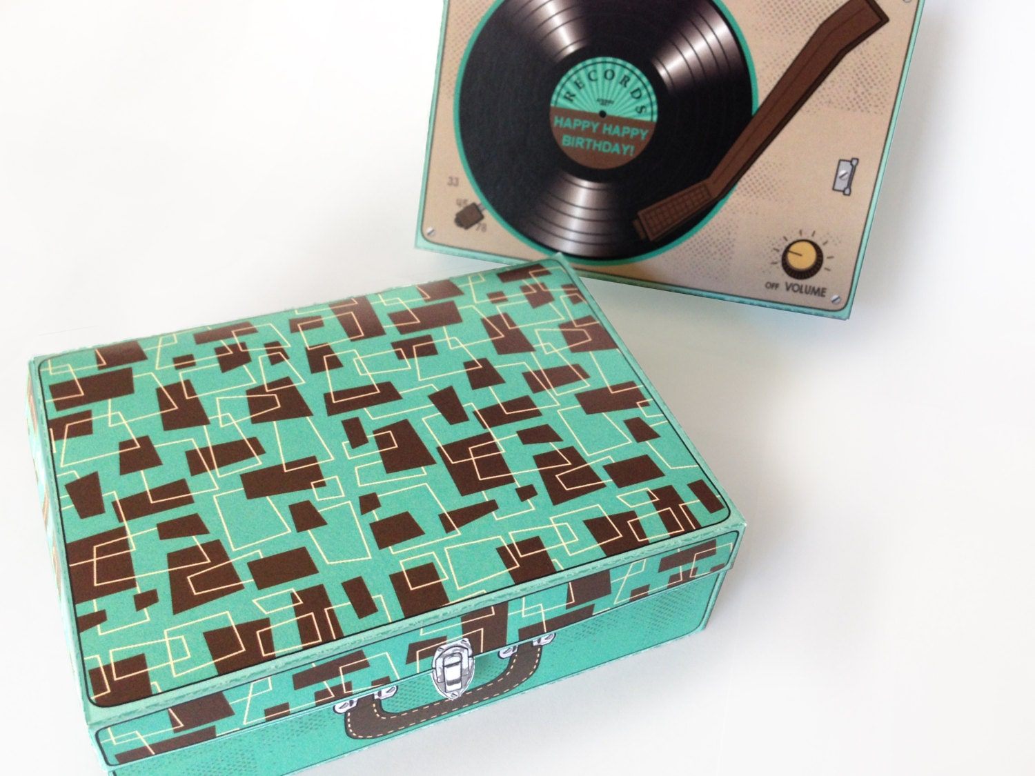 Record Player Box Gift Card Box Party Favor Gift Card Holder