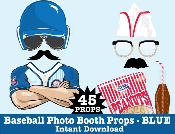 Baseball Photo Booth Props, Retro Baseball Party, Baseball Birthday, Vintage Baseball Party -  Instant Download PDF - 45 DIY Printable Props
