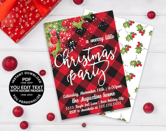 Merry Little Christmas Party Invitation, Christmas Party Invite, Buffalo Plaid | Editable Text Instant Download PDF Printable