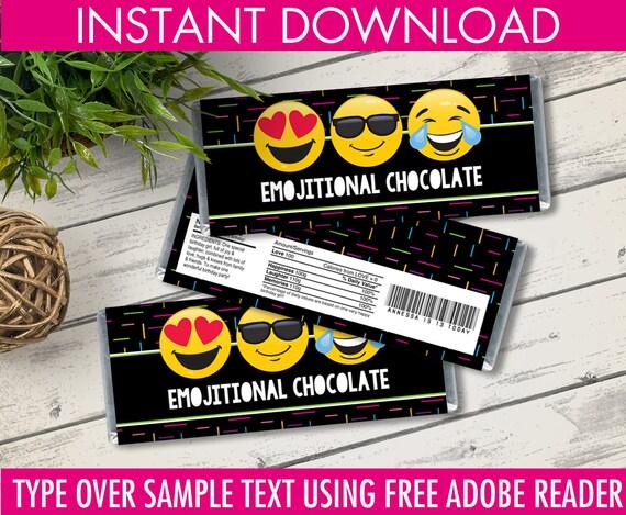 Emoji Candy Bar Wrappers Emoji Favor Chocolate Labels Emoji