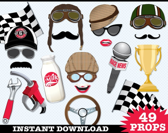 Race Car Photo Booth Props, Cars Birthday Party, Classic Car Party, Vintage Race Car Party - Instant Download PDF - 49 DIY Printable Props