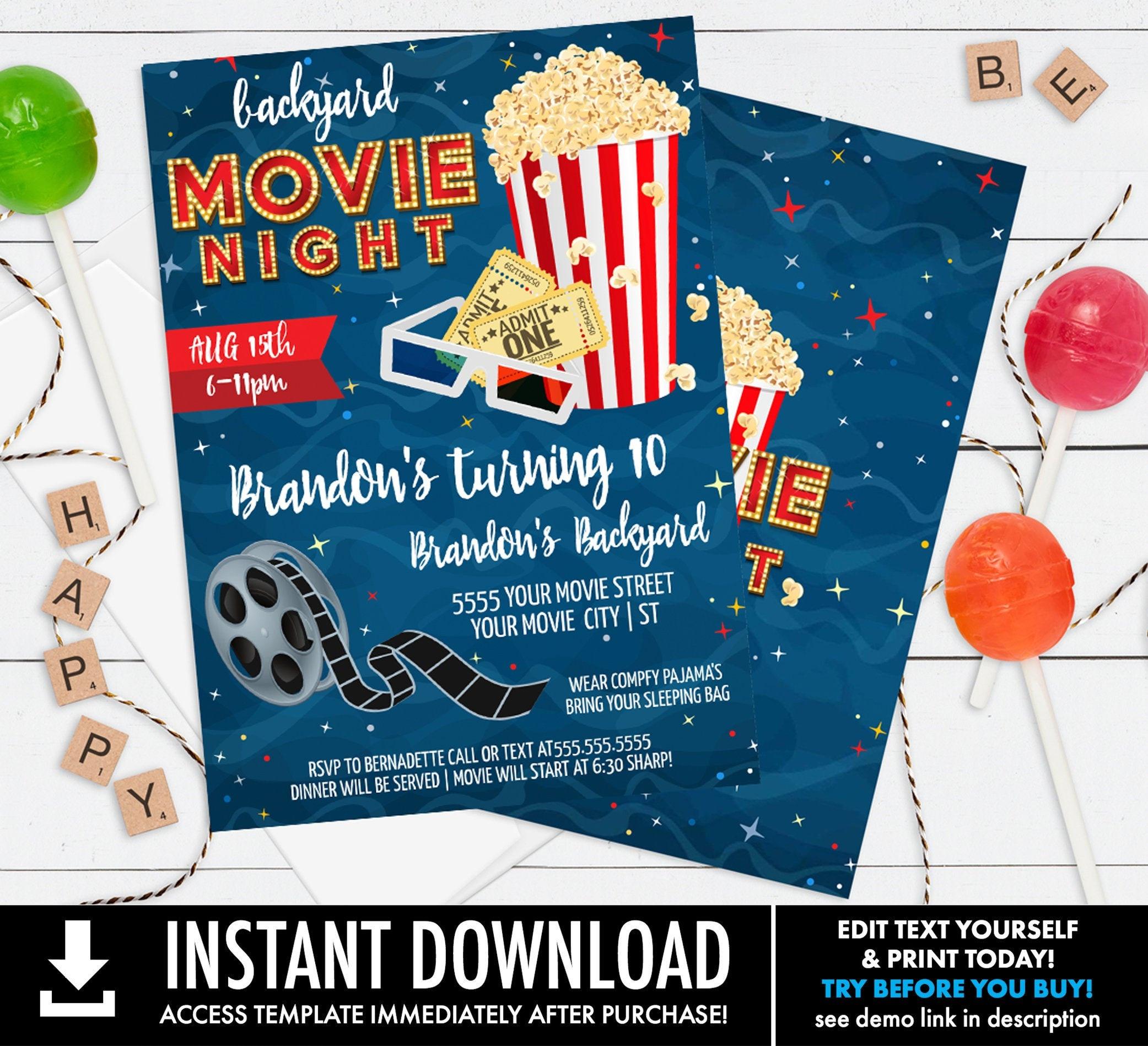 Editable Birthday Movie Backyard Invite Instant Download Movie Night Invitation