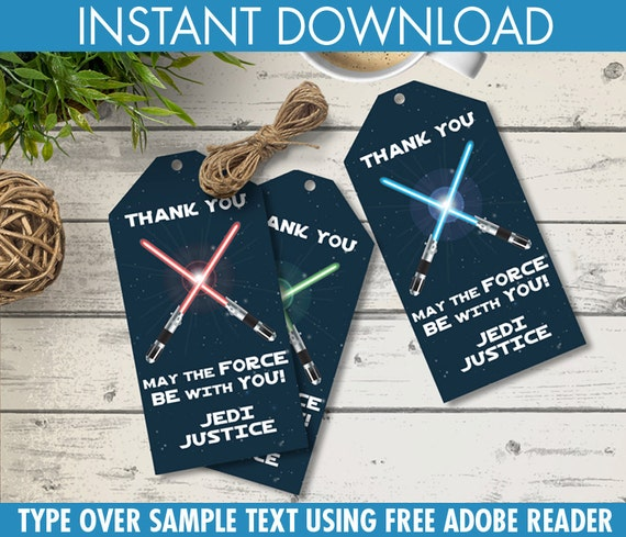 Star Wars Party Favor Tags Thank You Tags Birthday Party Favors