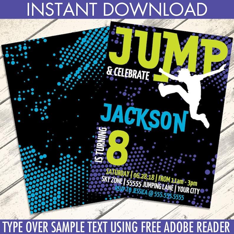 Jump Birthday Invitation Trampoline Invitation Jump Etsy