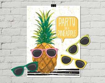 """Pineapple Party - 18""""x24"""" Pin the Sunglasses Game - Party Like a Pineapple, Birthday Party, Summer   INSTANT Download PDF - Printable Game"""