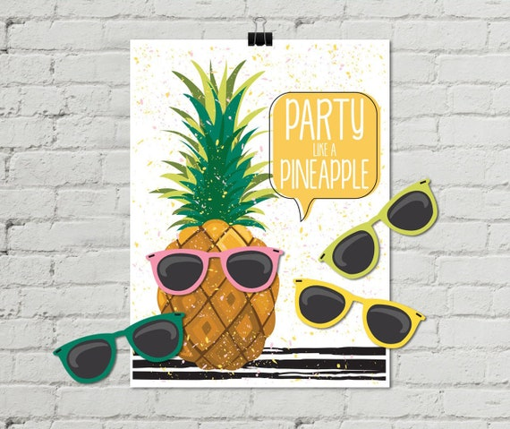 "Pineapple Party - 18""x24"" Pin the Sunglasses Game - Party Like a Pineapple, Birthday Party, Summer 