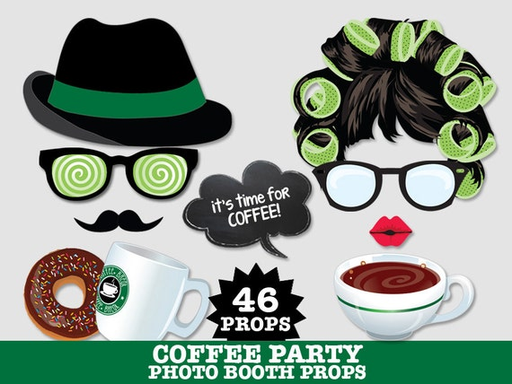 Coffee Party - Photo Booth Props, Donut Party, Wedding, Baby Shower, Coffee Party- Instant Download PDF - 46 DIY Printable Props
