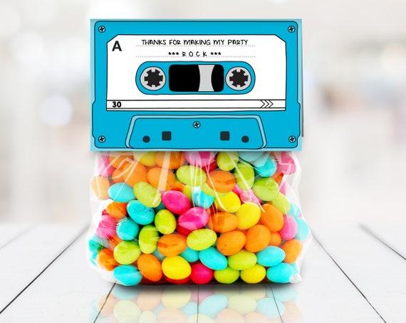 "Cassette Tape Kit Kat 4"" Treat Bag Topper - Retro Party Favor, 80's Party, Blue | Self-Editing DIY Editable Text INSTANT DOWNLOAD Printable"