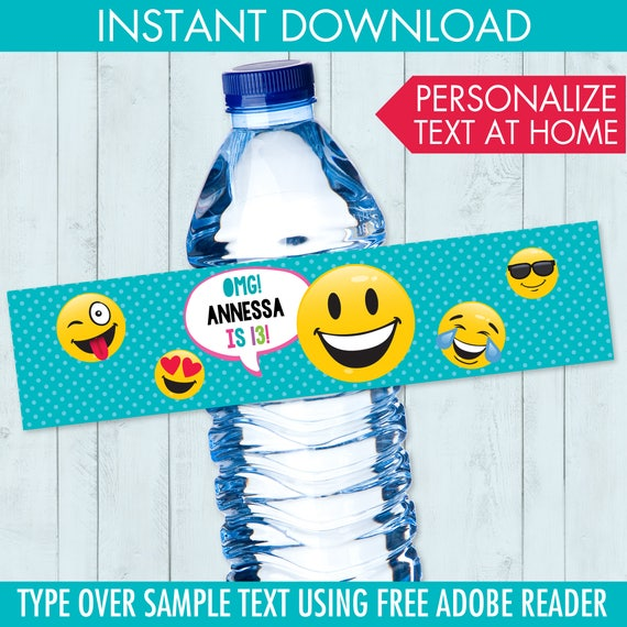 Emoji Party Water Bottle Label Wrap Theme Birthday