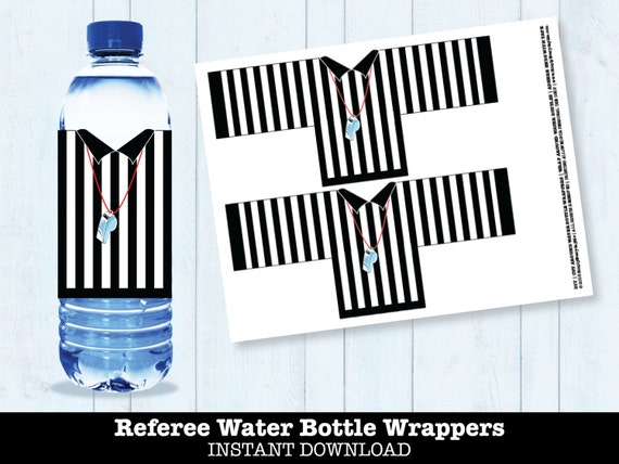 Football Referee Water Bottle Labels Bowl Party Super