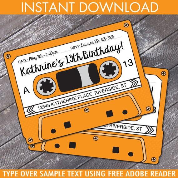 Cassette Tape Invitations Retro Party 80s Party Invitation