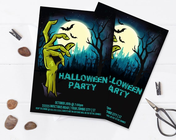 Zombie Invitation - Monster Mash, Halloween Party Invitation, Costume Party | Editable Text - DIY Instant Download PDF Printable