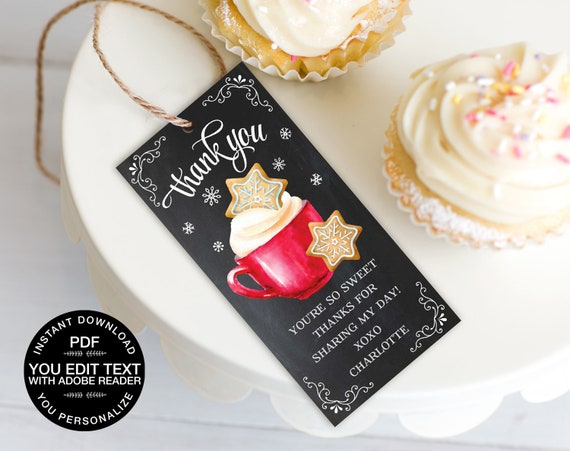 Cookies & Cocoa Favor Tag, Hot Chocolate Party, Cookie Decorating, Thank You Tag | Editable Text, DIY Instant Download PDF Printable